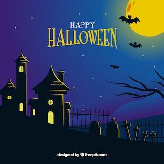 Feliz halloween con una casa encantada al lado de un cementerio