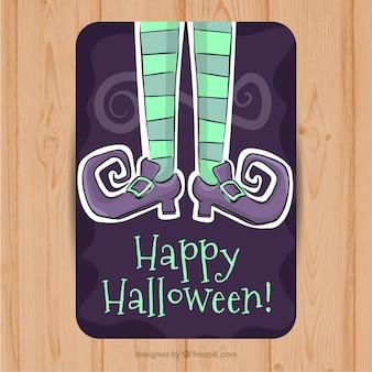 Feliz halloween con zapatos morados