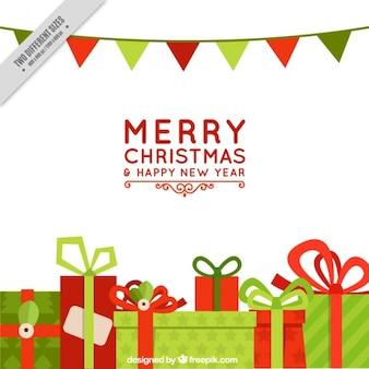 Feliz navidad con regalos y guirnaldas