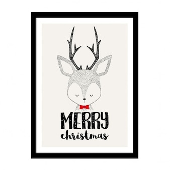 Feliz navidad, lindo reno en un marco