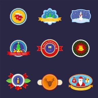 Feliz Navidad y feliz año nuevo conjunto de etiquetas aisladas ilustración vectorial