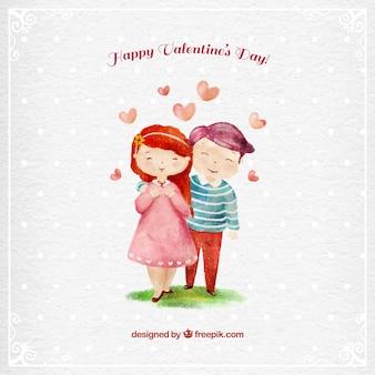 Feliz pareja enamorada pintada a mano