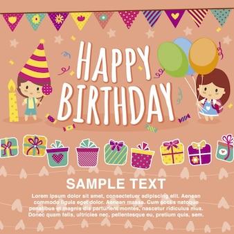 Feliz plantilla tarjeta de cumpleaños