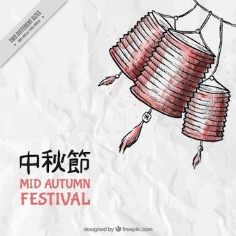 Festival de mediados de otoño, fondo dibujado a mano