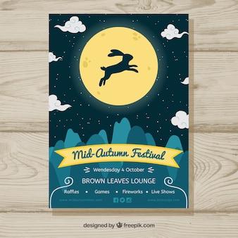 Festival de medio otoño con conejo y luna llena