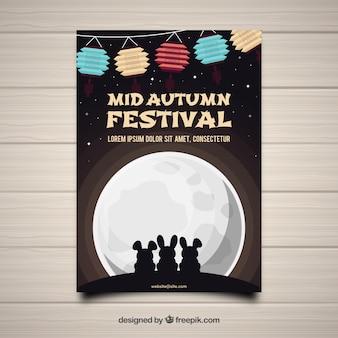Festival de mitad de otoño con conejos y luna llena