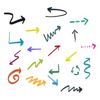 Flechas coloridas dibujadas a mano