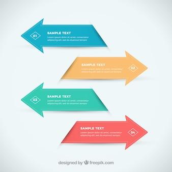 Flechas infográficas en diseño plano
