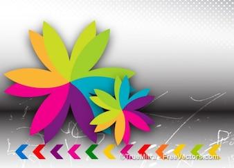 Flor colorida con las flechas