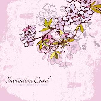 Flor de cerezo o sakura invitación postal ilustración vectorial