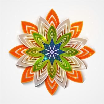 Flor geométrica con los colores de la bandera de la india