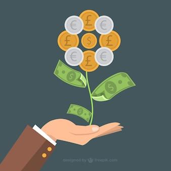 Flor hecha de dinero