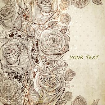 Floral antiguo conjunto de páginas de la acuarela