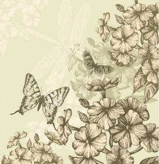Floral paquete de vectores fondo mariposa