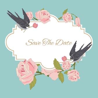 Flores color de rosa del vintage que casan la invitación ahorran la postal de la fecha con el ejemplo del vector de los pájaros.