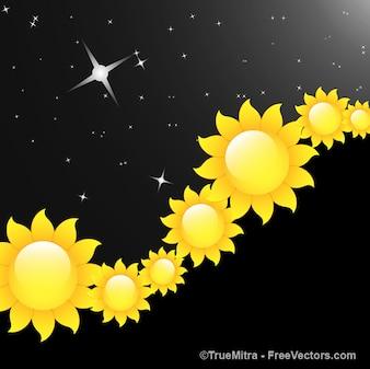 Flores de color amarillo con las estrellas de fondo negro