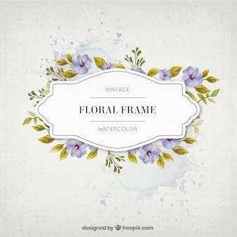 Flores de la acuarela de la vendimia y hojas de cuadro