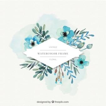Flores de la acuarela etiqueta en tonos azules