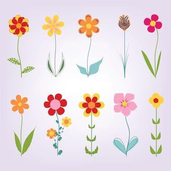 Flores dibujadas mano del doodle