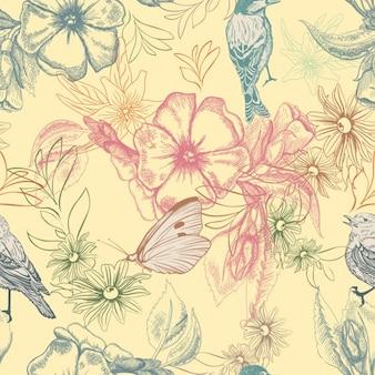 Flores y animales dibujados a mano