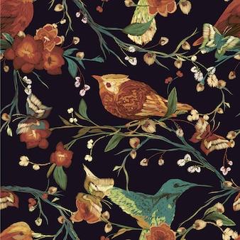 Flores y pájaros sobre fondo negro