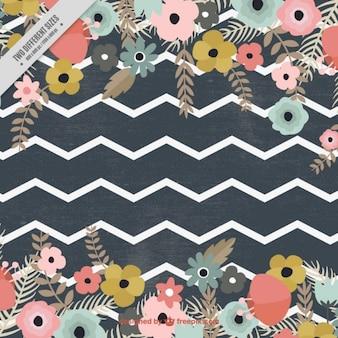 Flores y patrón de zig-zag