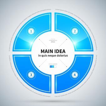 Flotante círculo infografía con textura brillante y cuatro opciones