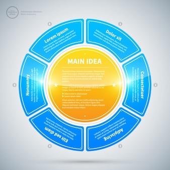Flotante círculo infografía con textura brillante