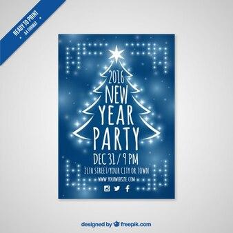 Flyer azul de fiesta de año nuevo 2016