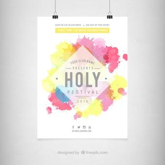 Flyer colorido de festival holi