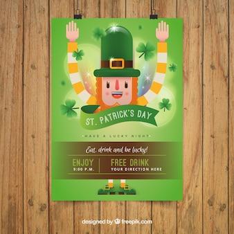 Flyer de fiesta de San Patricio con Leprechaun