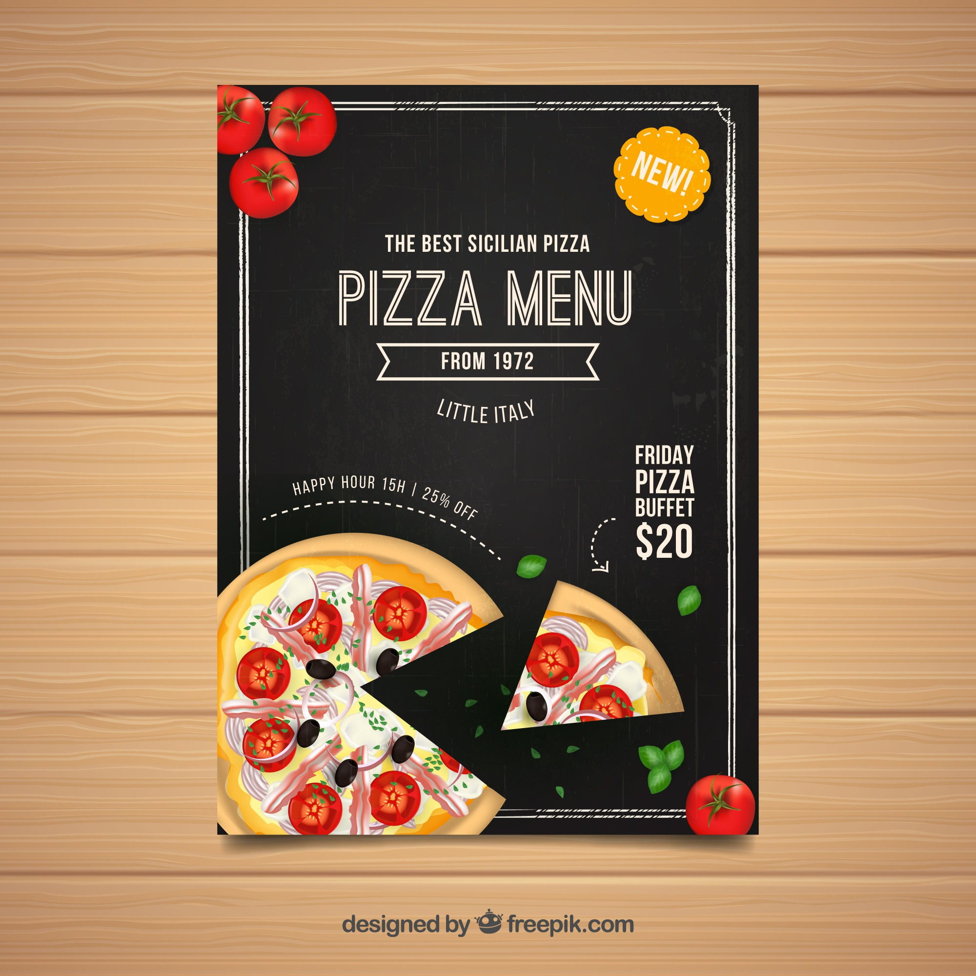 Flyer menú pizza