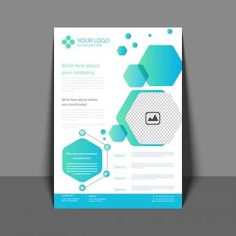 Flyer profesional en color azul, folleto corporativo, informe anual y plantilla de diseño de portada para su negocio.
