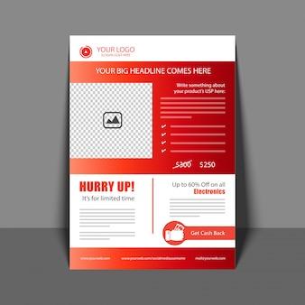 Flyer profesional en color rojo, folleto corporativo, informe anual y plantilla de diseño de portada para su negocio.