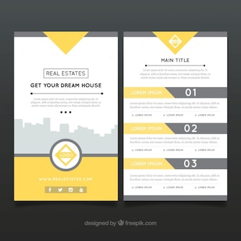 Folleto abstracto de inmobiliaria con detalles amarillos