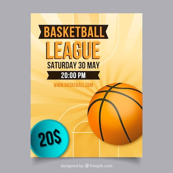 Folleto abstracto de liga de baloncesto