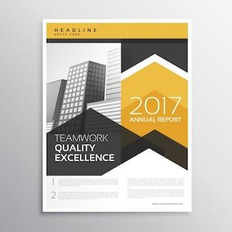Folleto abstracto de negocio en color amarillo y gris