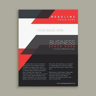 Folleto abstracto de negocios rojo y negro