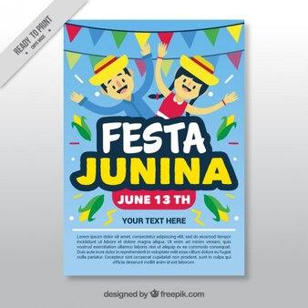 Folleto alegre de celebración de fiesta junina