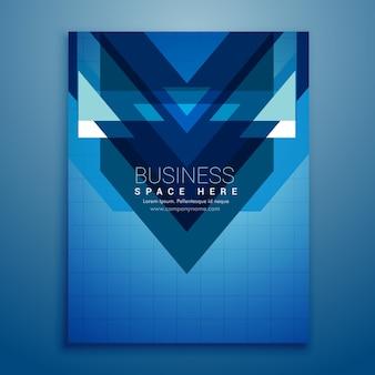 Folleto azul con formas triangulares