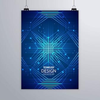 Folleto azul con líneas tecnológicas