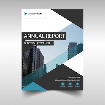Folleto con edificios, reporte anual