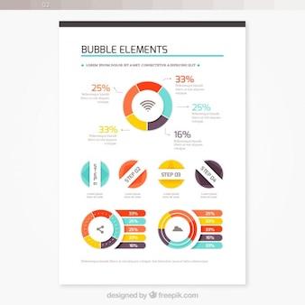 Folleto con elementos de burbujas de colores