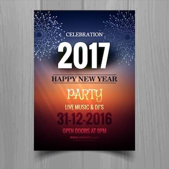 Folleto con fuegos artificiales para año nuevo