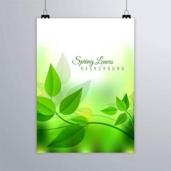 Folleto con hojas verdes