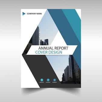 Folleto con líneas azules, reporte anual