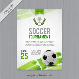 Folleto de acuarela de torneo de fútbol