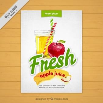 Folleto de acuarela de zumo fresco de manzana