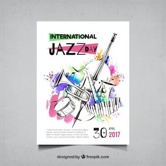 Folleto de acuarela y bocetos de instrumentos musicales de jazz