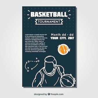 Folleto de baloncesto con bosquejo de jugador